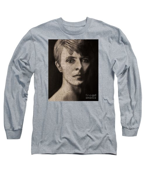Long Sleeve T-Shirt featuring the photograph Art In The News 78-bowie by Michael Cross