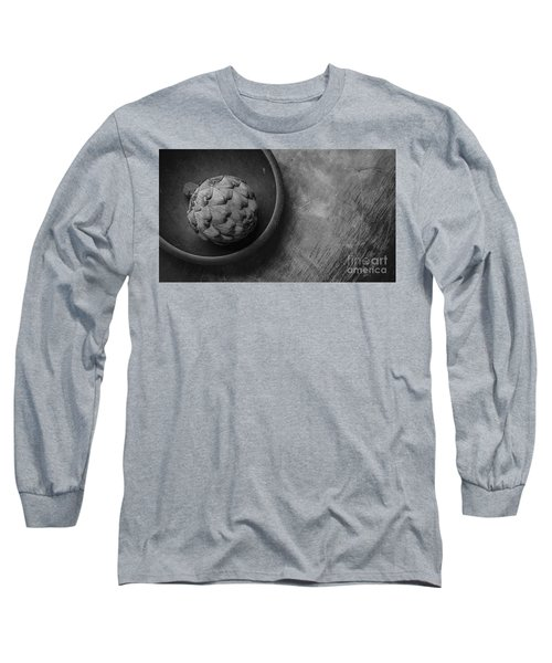 Artichoke Black And White Still Life Three Long Sleeve T-Shirt by Edward Fielding