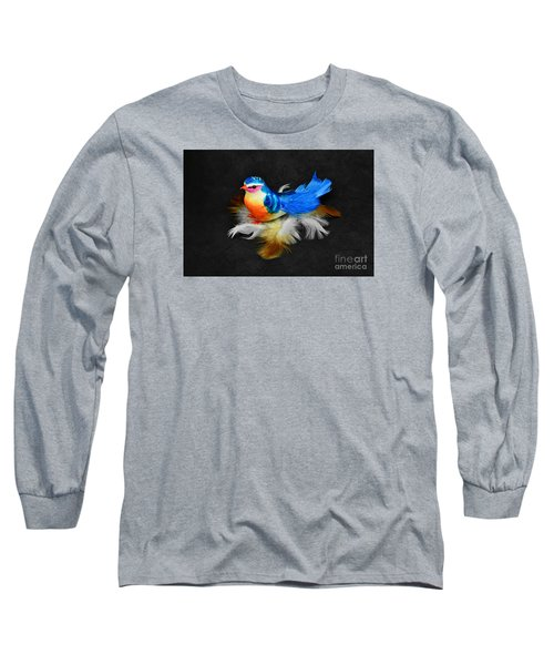 Artificial Blue Bird Long Sleeve T-Shirt