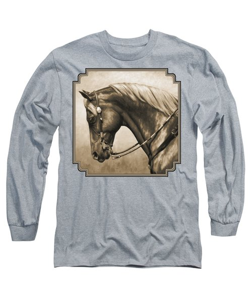 Western Horse Painting In Sepia Long Sleeve T-Shirt by Crista Forest