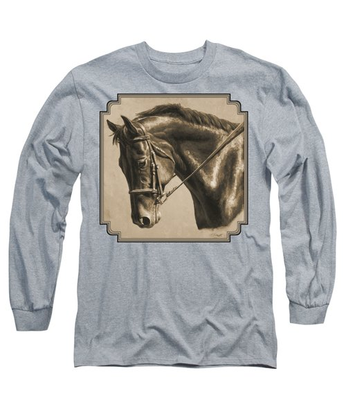 Horse Painting - Focus In Sepia Long Sleeve T-Shirt