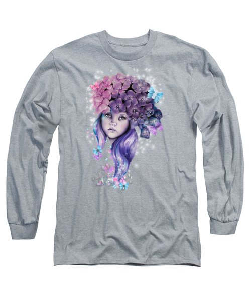 Long Sleeve T-Shirt featuring the mixed media Hydrangea by Sheena Pike
