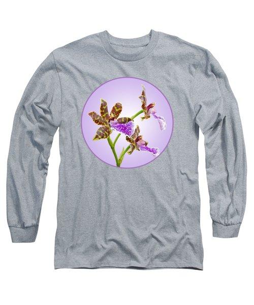 Bold And Beautiful - Zygopetalum Orchid Long Sleeve T-Shirt by Gill Billington