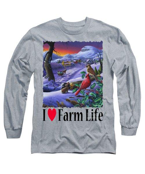 I Love Appalachia - Small Town Winter Landscape - Cardinals Long Sleeve T-Shirt