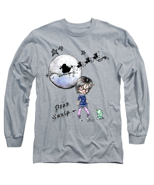 Long Sleeve T-Shirt featuring the painting Tilly And Sprite Play Reindeers by Lizzy Love