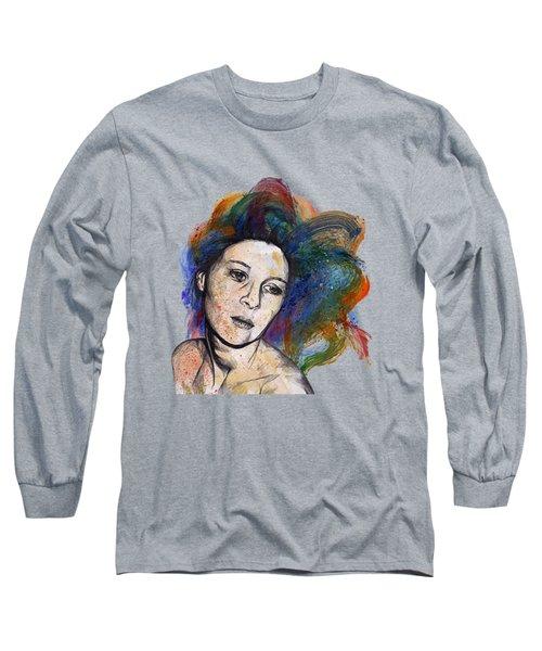 Crystal - Street Art Female Portrait With Rainbow Hair Long Sleeve T-Shirt