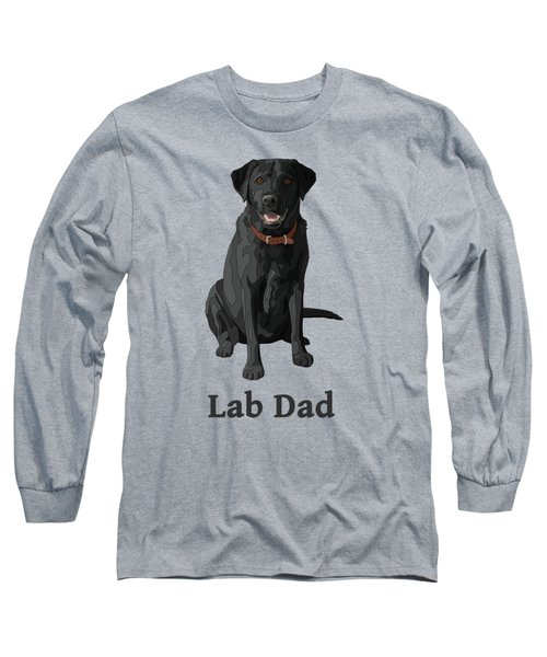 Black Labrador Retriever Lab Dad Long Sleeve T-Shirt by Crista Forest