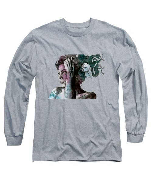 Beneath Broken Earth - Street Art Drawing, Woman With Leaves And Tattoos Long Sleeve T-Shirt