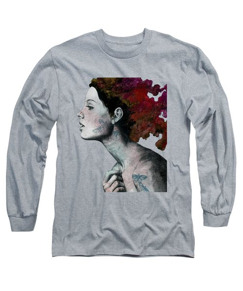 Moral Red Eclipse - Colorful Hair Woman With Moths Tattoos Long Sleeve T-Shirt
