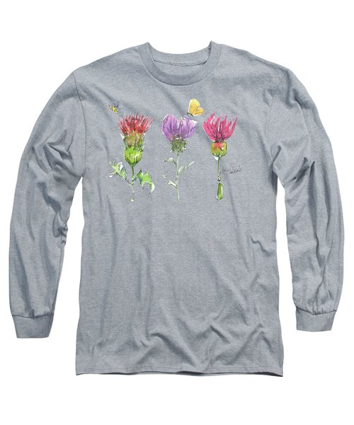 Scottish Thistle Tattoo With Bumble Bee Fl104 Long Sleeve T-Shirt