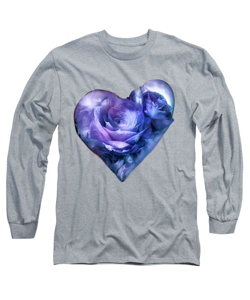 Heart Of A Rose - Lavender Blue Long Sleeve T-Shirt by Carol Cavalaris