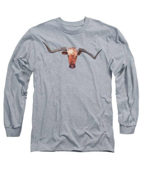 On The Level Texas Longhorn Watercolor Painting By Kmcelwaine Long Sleeve T-Shirt