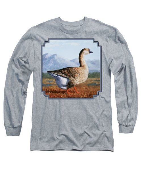 Brown Chinese Goose Long Sleeve T-Shirt by Crista Forest