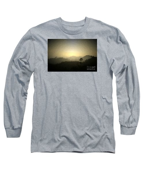 Ascend The Hill Of The Lord - Digital Paint Effect Long Sleeve T-Shirt by Sharon Soberon
