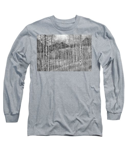 Long Sleeve T-Shirt featuring the photograph Aspen Ambience Monochrome by Eric Glaser
