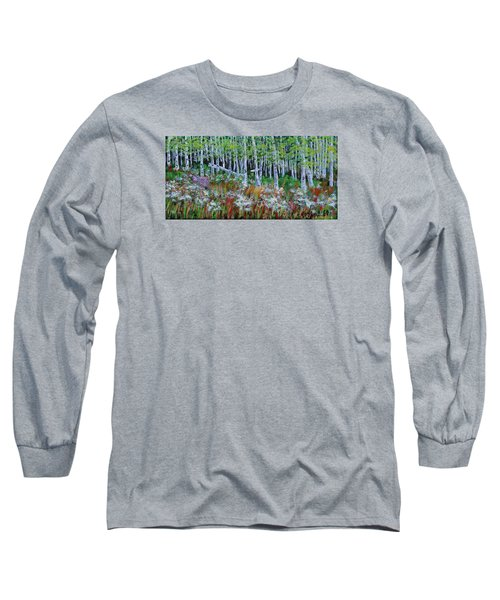 Aspens And Wildflowers Long Sleeve T-Shirt by Mike Caitham