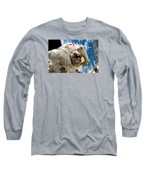 Astronaut During The Third Spacewalk Of Sts-121 Long Sleeve T-Shirt