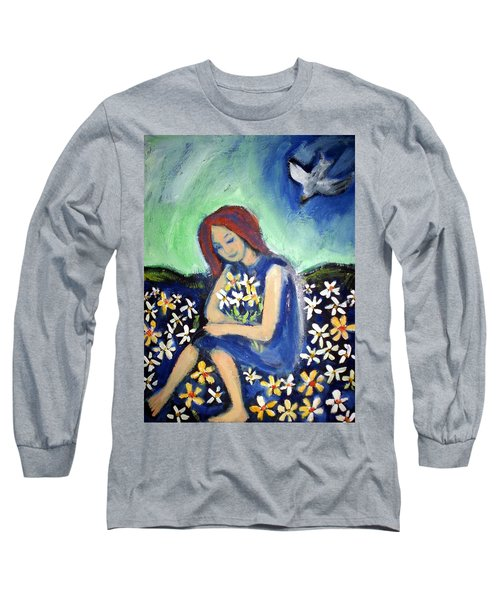 Long Sleeve T-Shirt featuring the painting At Peace by Winsome Gunning