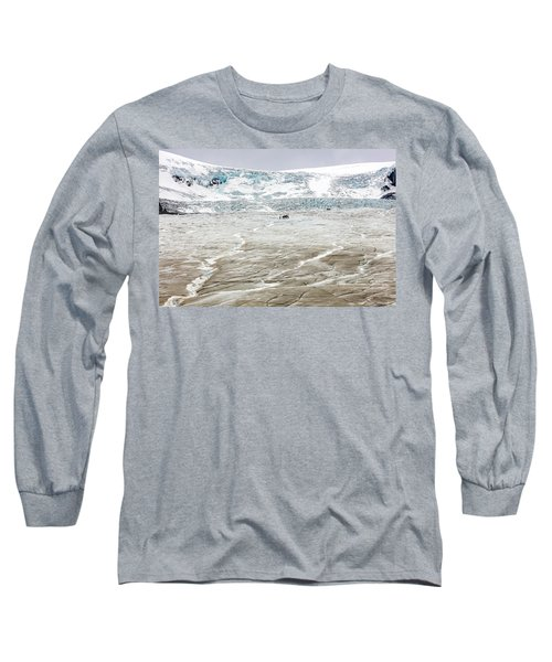 Long Sleeve T-Shirt featuring the photograph Athabasca Glacier With Guided Expedition by Pierre Leclerc Photography
