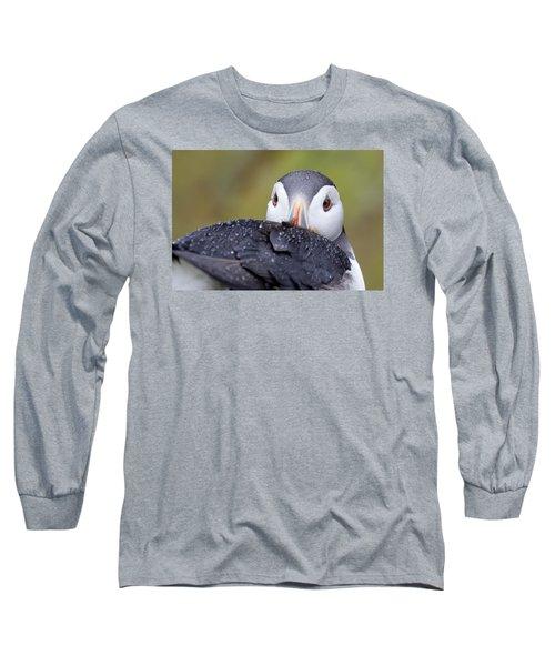 Atlantic Puffin With Rain Drops Long Sleeve T-Shirt