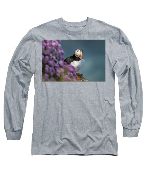 Long Sleeve T-Shirt featuring the photograph Atlantic Puffin - Scottish Highlands by Karen Van Der Zijden