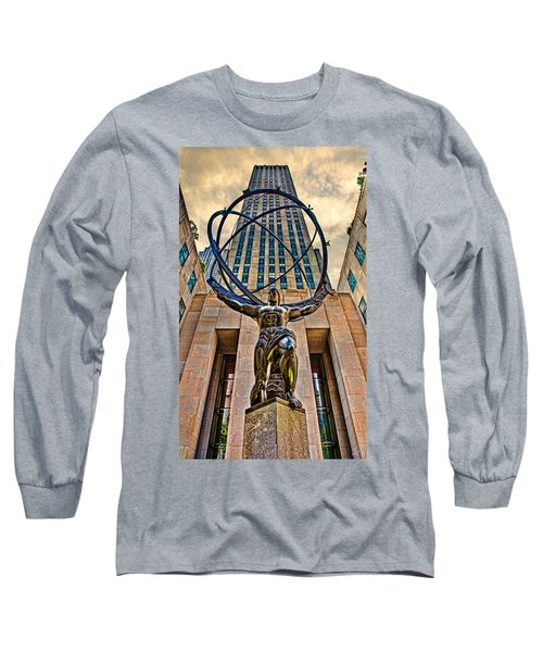 Atlas At The Rock Long Sleeve T-Shirt by Chris Lord
