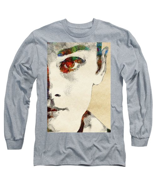 Audrey Half Face Portrait Long Sleeve T-Shirt by Mihaela Pater