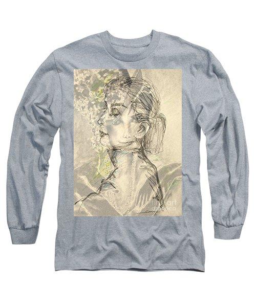 Audrey Two -- Portrait Of Audrey Hepburn Long Sleeve T-Shirt