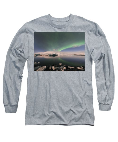 Long Sleeve T-Shirt featuring the photograph Aurora Borealis And Reflection by Wanda Krack