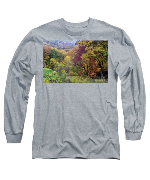 Long Sleeve T-Shirt featuring the photograph Autumn Arrives In Brown County - D010020 by Daniel Dempster