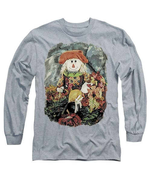 Long Sleeve T-Shirt featuring the digital art Autumn Country Scarecrow by Kathy Kelly