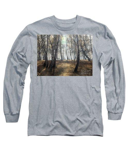 Autumn Deep Fog In The Morning Birch Grove Long Sleeve T-Shirt