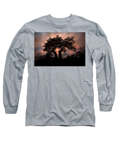 Long Sleeve T-Shirt featuring the photograph Autumn Evening Sunset Silhouette by Chris Lord