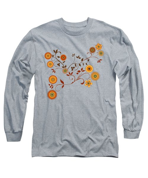 Autumn Flower Explosion Long Sleeve T-Shirt by Methune Hively