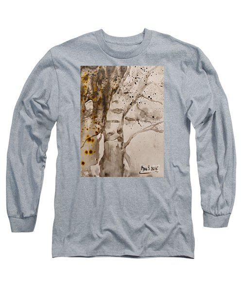 Long Sleeve T-Shirt featuring the painting Autumn Human Face Tree by AmaS Art
