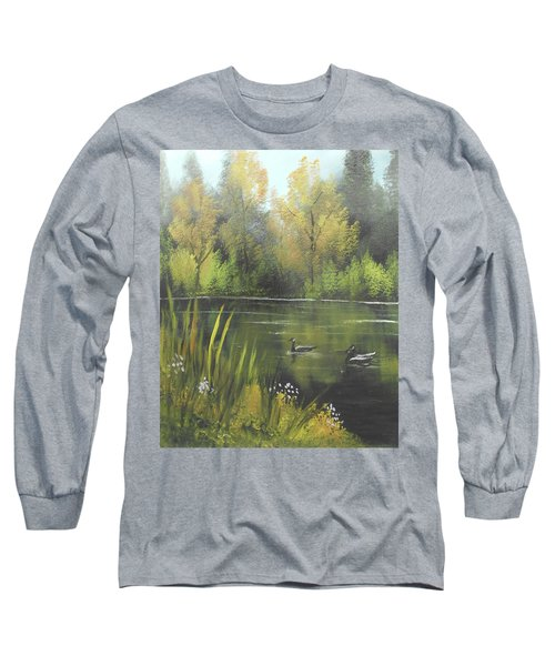 Long Sleeve T-Shirt featuring the mixed media Autumn In The Park by Angela Stout