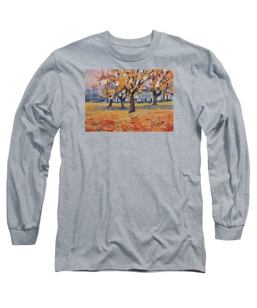 Long Sleeve T-Shirt featuring the painting Autumn In The Villa Park Maastricht by Nop Briex