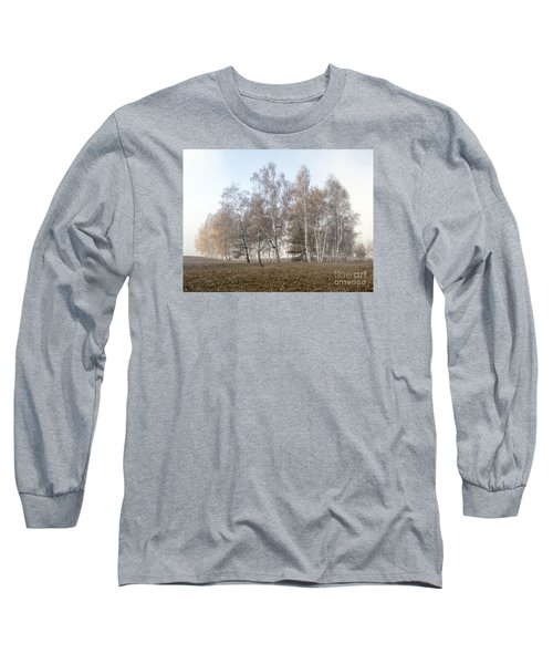 Autumn Landscape In A Birch Forest With Fog Long Sleeve T-Shirt by Odon Czintos