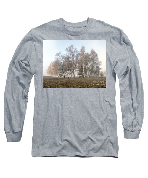 Autumn Landscape In A Birch Forest With Fog Long Sleeve T-Shirt