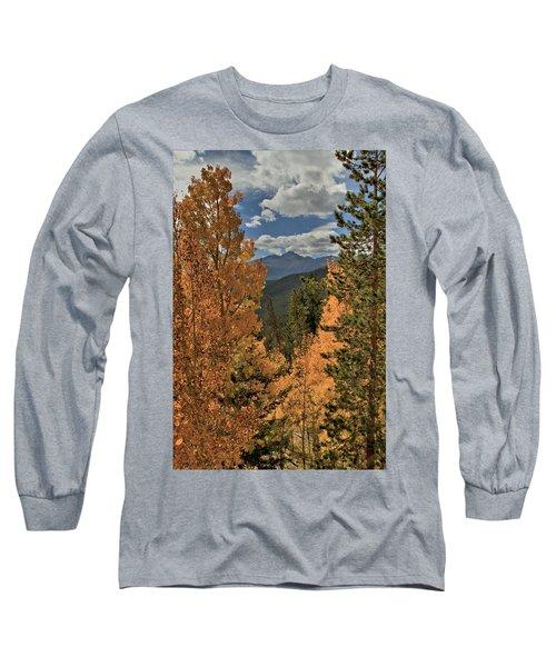 Autumn Leaves And Longs Peak Long Sleeve T-Shirt