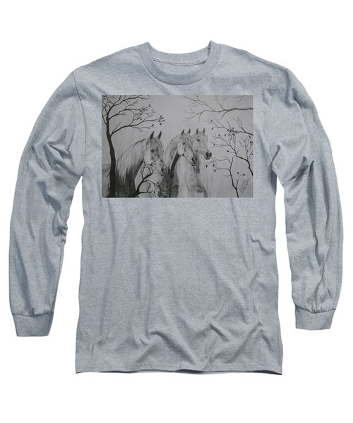 Long Sleeve T-Shirt featuring the drawing Autumn by Melita Safran