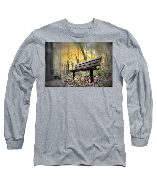 Autumn Park Bench Long Sleeve T-Shirt by Bonfire Photography