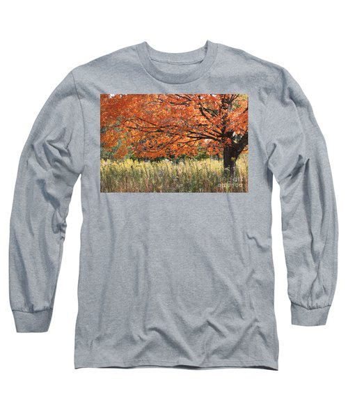 Long Sleeve T-Shirt featuring the photograph Autumn Red   by Paula Guttilla