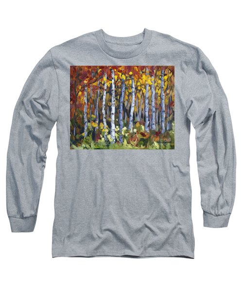 Long Sleeve T-Shirt featuring the painting Autumn Trees by Jennifer Beaudet