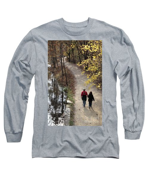 Autumn Walk On The C And O Canal Towpath With Oil Painting Effect Long Sleeve T-Shirt