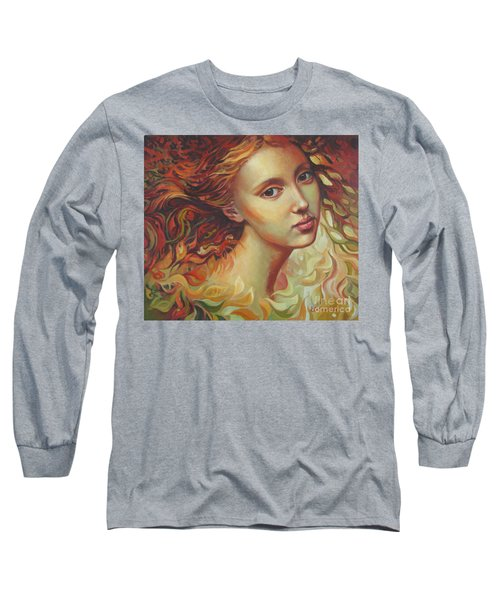 Long Sleeve T-Shirt featuring the painting Autumn Wind by Elena Oleniuc