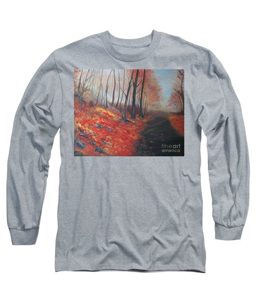 Long Sleeve T-Shirt featuring the painting Autumns Pathway by Leslie Allen