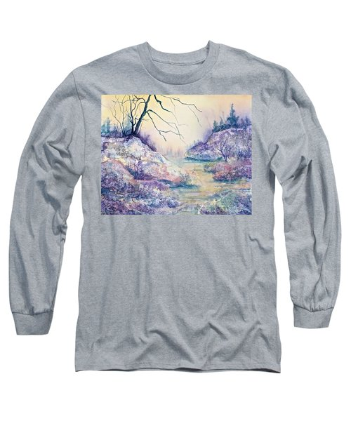 Long Sleeve T-Shirt featuring the painting Autumnscape In Purple by Carolyn Rosenberger