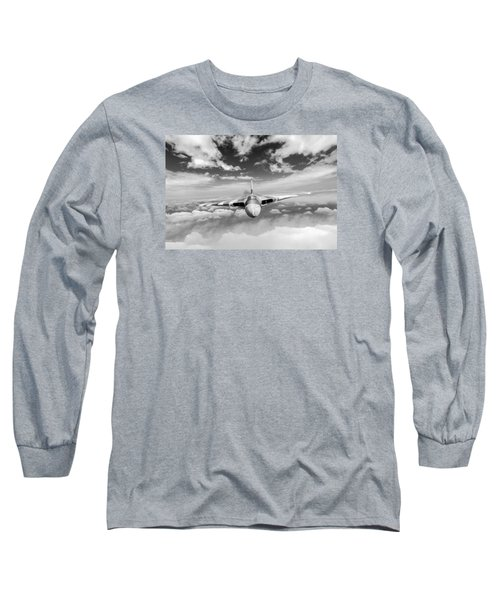 Long Sleeve T-Shirt featuring the digital art Avro Vulcan Head On Above Clouds by Gary Eason