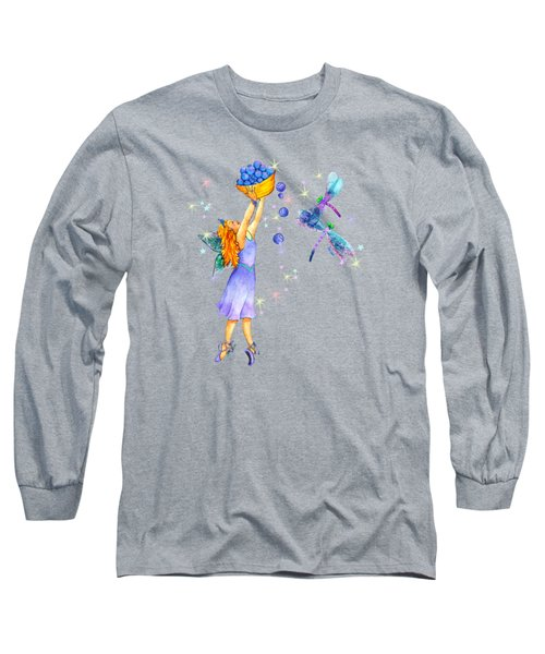 Azuria Blue Twinkle Apparel Design Long Sleeve T-Shirt by Teresa Ascone